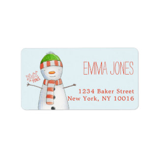 Etiqueta Natal bonito do boneco de neve da alegria e da paz
