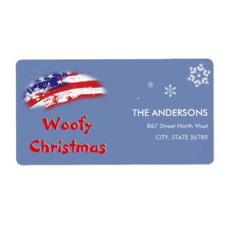 Etiqueta Natal branco vermelho de Woofy da bandeira azul
