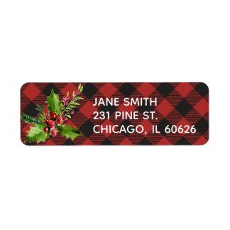 Etiqueta Natal da xadrez do búfalo vermelho e preto