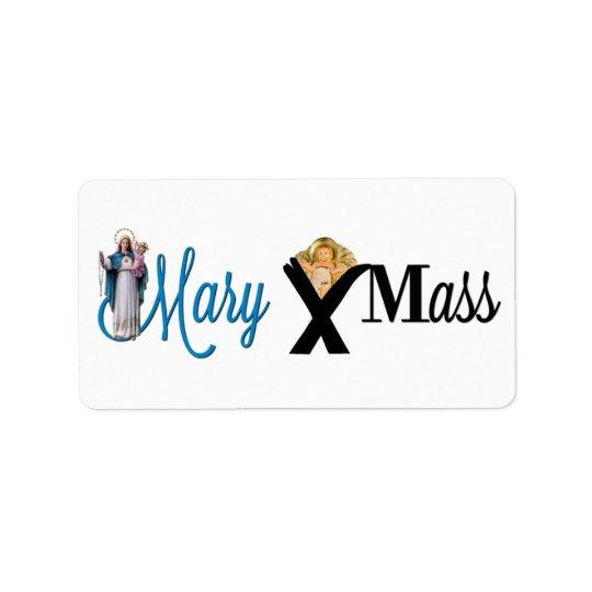 Etiqueta Natal do comedoiro da criança do cristo de Mary