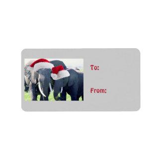 Etiqueta Natal inesquecível do elefante