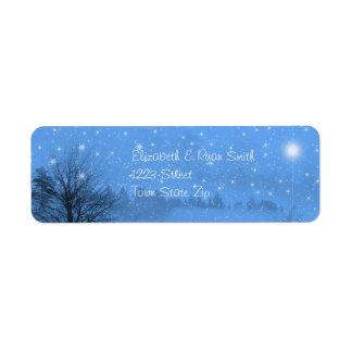Etiqueta Natal, noite bonita do inverno, paz na terra