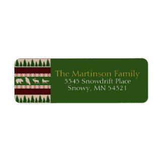 Etiqueta Natal rústico da floresta do alojamento da