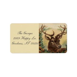 Etiqueta Natal rústico da natureza do veado do fanfarrão