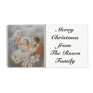 Etiqueta Natal santamente de Jesus Mary Joseph da família