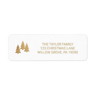 Etiqueta Natal simples do pinheiro do ouro