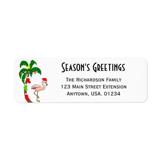 Etiqueta Natal tropical da palmeira e do flamingo