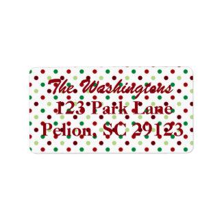 Etiqueta Natal verde & branco vermelho das bolinhas