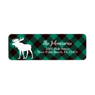 Etiqueta Natal verde & preto do búfalo rústico dos alces da