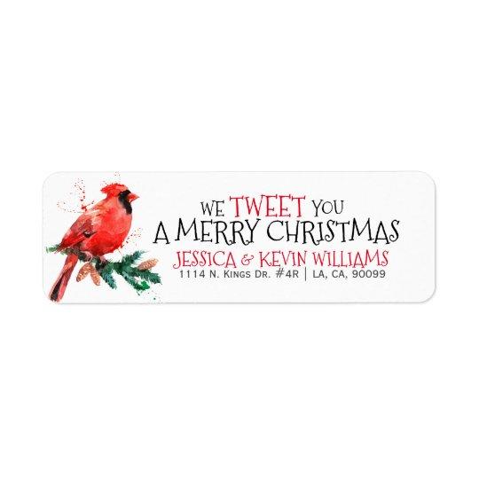 Etiqueta Natal vermelho Pisco de peito vermelho-nós Tweet