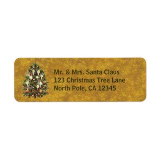 Etiqueta Natal vintage, árvore decorada do Victorian