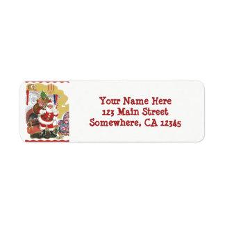 Etiqueta Natal vintage, Papai Noel alegre com presentes