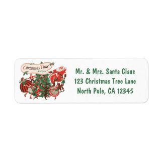 Etiqueta Natal vintage Papai Noel e crianças da dança
