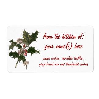 Etiqueta Natal vintage, planta verde do azevinho com bagas
