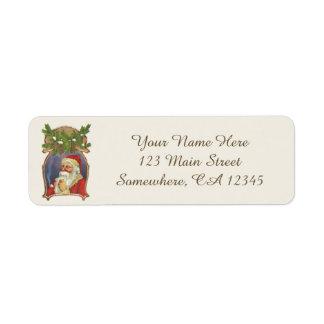 Etiqueta Natal vintage, Victorian Papai Noel com tubulação