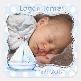 Etiqueta náutica da foto do bebê adesivo quadrado