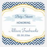 Etiqueta náutica do chá do bebé do ouro do marinho adesivo em forma quadrada