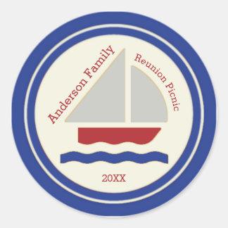 Etiqueta náutica vermelha, branca, azul do veleiro
