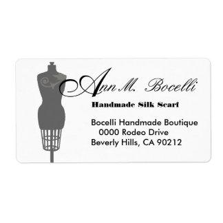 Etiqueta Negócio do formulário do vestido do manequim do