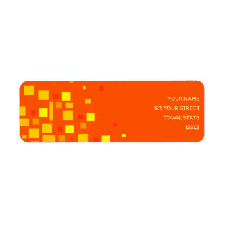 Etiqueta Néon geométrico vibrante do amarelo alaranjado dos