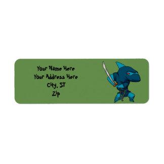 Etiqueta Ninja do tubarão