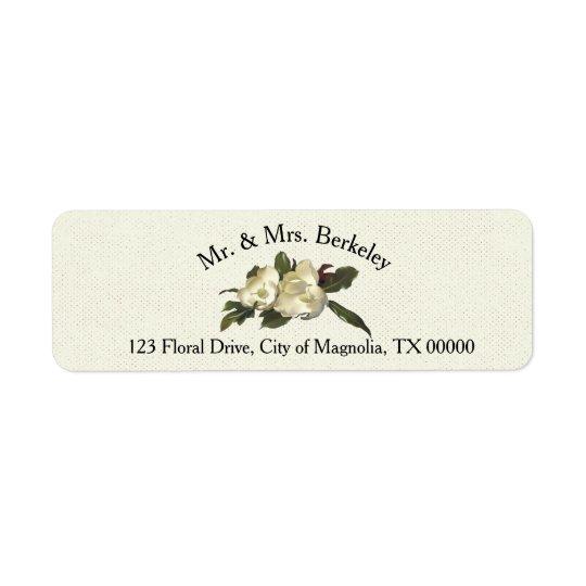 Etiqueta No amor - costume floral do casamento da magnólia