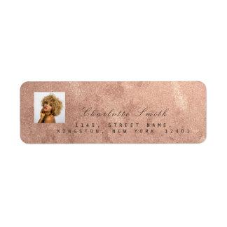 Etiqueta Nome cor-de-rosa do endereço do ouro RSVP da foto