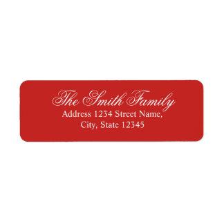 Etiqueta Nome de família elegante moderno vermelho e branco