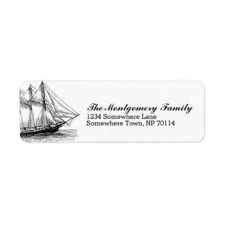 Etiqueta Nome náutico do navio & de família da escuna do