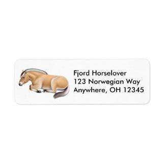 Etiqueta norueguesa sonolento do cavalo do fiorde etiqueta endereço de retorno