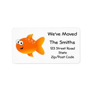 Etiqueta Nós movemo-nos, peixe dourado alaranjado