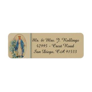 Etiqueta Nossa senhora da Virgem Maria abençoada