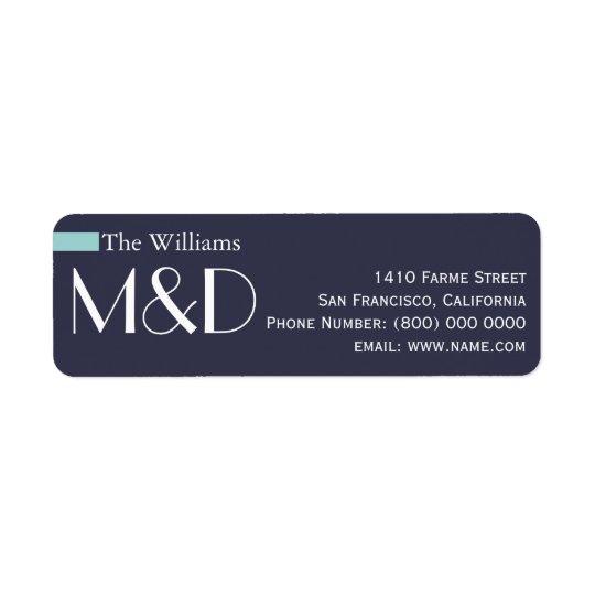 Etiqueta nosso endereço, azul monogrammed