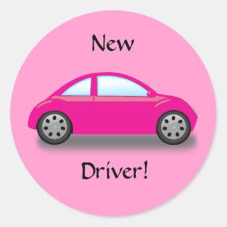 Etiqueta nova do carro do rosa do motorista
