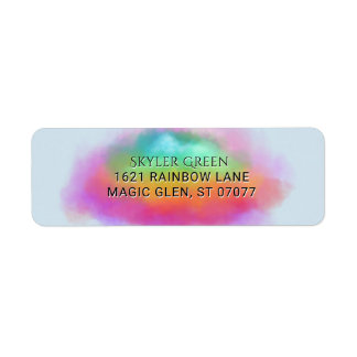 Etiqueta O arco-íris colore nuvens da aguarela do