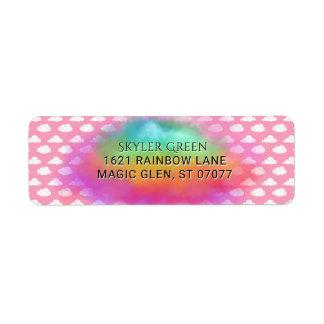 Etiqueta O arco-íris colore o aniversário do rosa da
