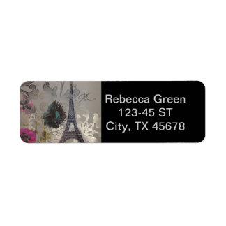 Etiqueta o cinza roda torre Eiffel moderna de Paris do