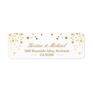 Etiqueta O confete moderno do ouro pontilha elegante à moda