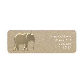Etiqueta O encanto elegante da silhueta dourada do elefante