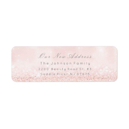 Etiqueta O endereço novo cora o Pastel azul cor-de-rosa de
