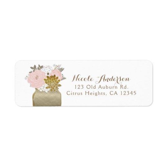 Etiqueta O frasco de pedreiro floresce o chique floral