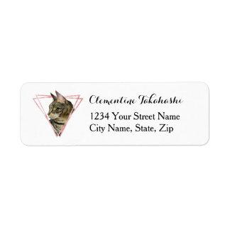 Etiqueta O gato de gato malhado com falso cora quadro