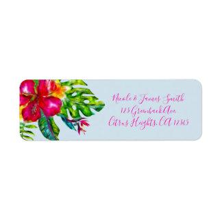 Etiqueta O hibiscus floral tropical da cor brilhante sae de