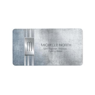 Etiqueta O metal riscado listra o monograma ID443 azul