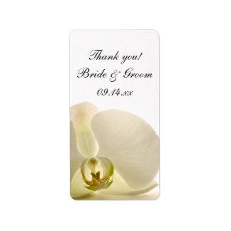 Etiqueta O obrigado branco do casamento da flor da orquídea