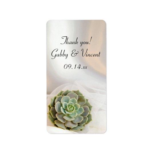 Etiqueta O obrigado branco do casamento do Succulent verde