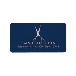 Etiqueta O ouro cor-de-rosa elegante Scissor azuis marinhos