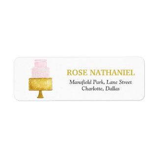 Etiqueta O ouro cora chá de panela cor-de-rosa do bolo de