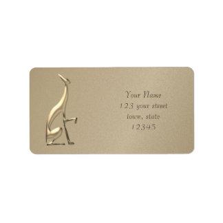 Etiqueta O ouro italiano do galgo grava a silhueta elegante