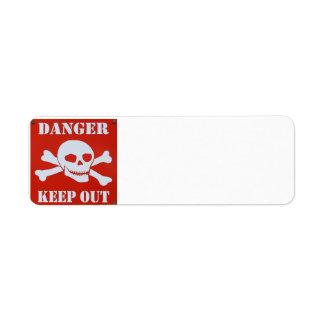 Etiqueta O perigo mantem-se para fora